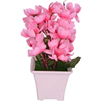 Pindia Artificial Baby Pink Flower Plant with Pot for Home and Office Decor (8x8x17, cms)