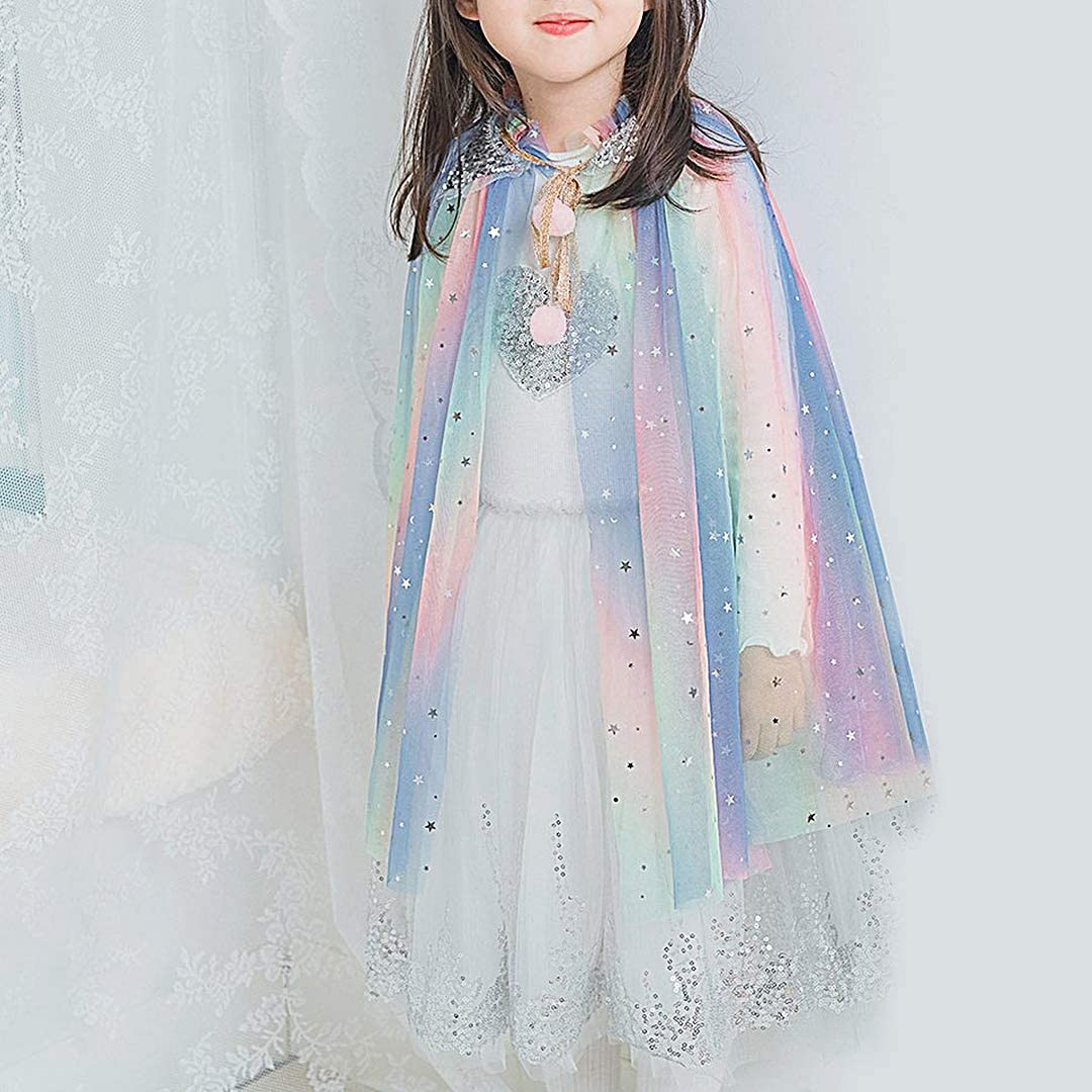 Multifit Princess Capes Colorful Sequins Cloak for Girls-Halloween Birthday Party Costumes Dress up