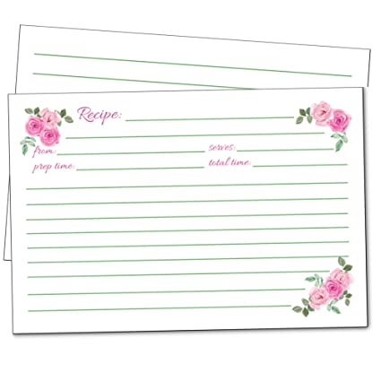 50 floral recipe cards pink rose 4x6 double sided wedding bridal shower card