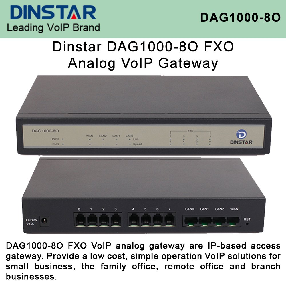 Dinstar DAG1000-8O FXO Analog VoIP Gateway Simple Operation