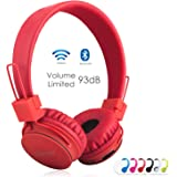 Wireless Bluetooth Kids Headphones, NIA Bluetooth Wireless Foldable Stereo over-Ear headsets with music share port and Built-in Microphone for calling and PC gaming (Red)