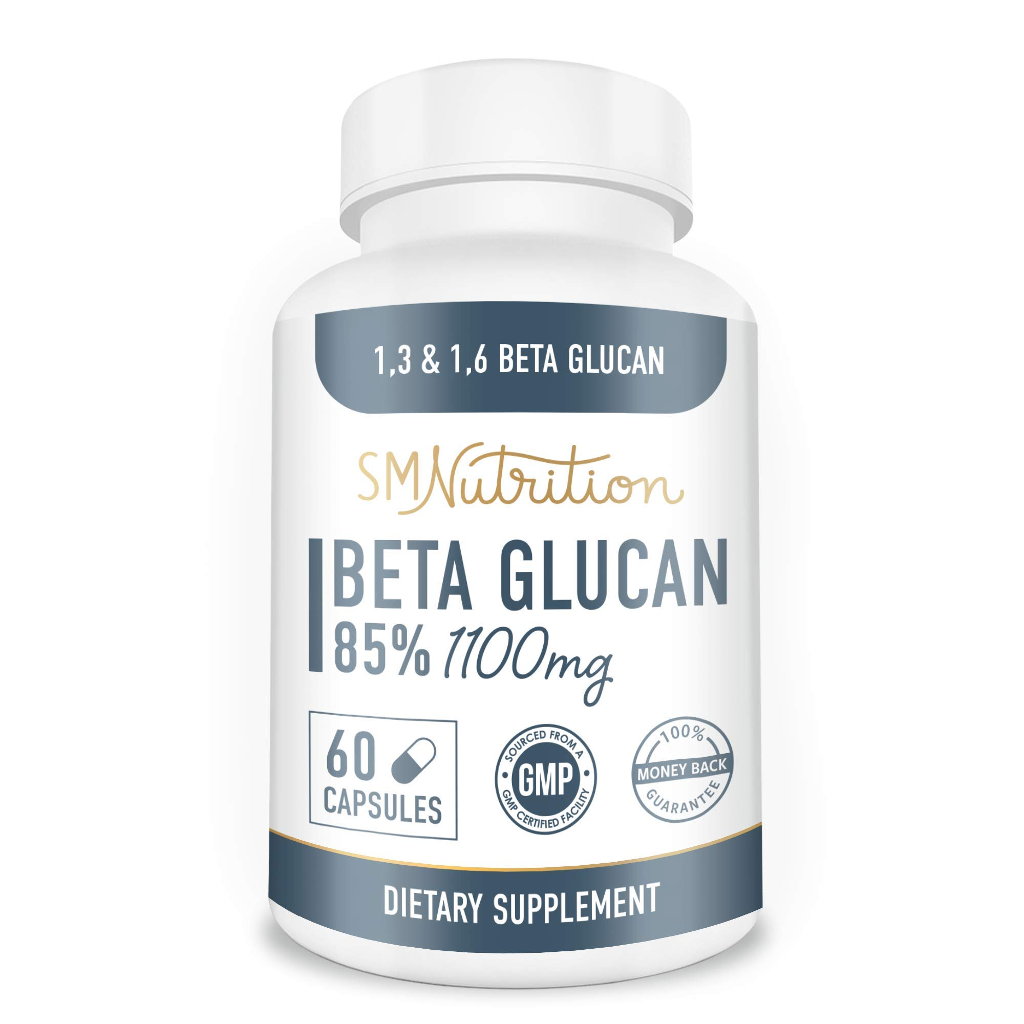 Beta Glucan Capsules - 1100mg (60 Capsules) - Beta Glucans 1,3, 1,6 D for Immune Support, Immune System, Immune Health* - Third-Party Tested, GMP, Non-GMO, Gluten-Free