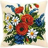 Vervaco, PN-0008549, Cuscino con kit per punto croce, motivo: Fiori, Multicolore (Multicolor)