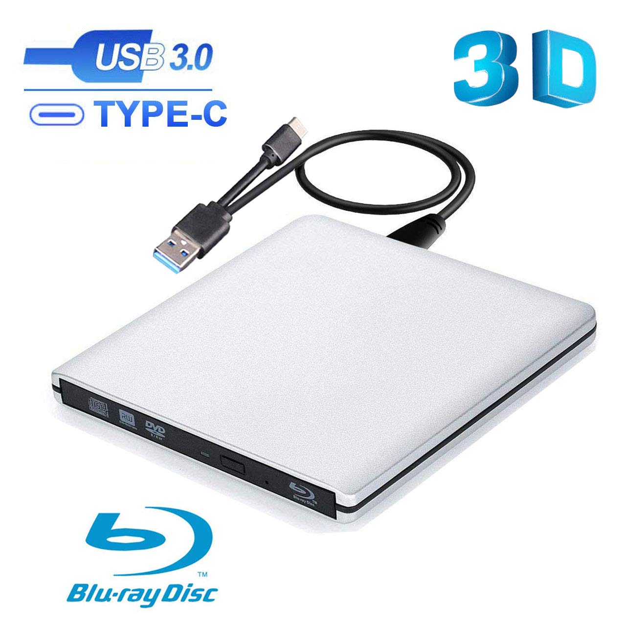 Ploveyy External Blu Ray DVD Drive , USB 3.0 & USB C Burner Slim Optical Portable Blu-ray CD DVD Reader Writer RW Player for Laptop Desktop MacBook OS Windows 7 8 10 PC iMac Laptop (Silver) by Ploveyy