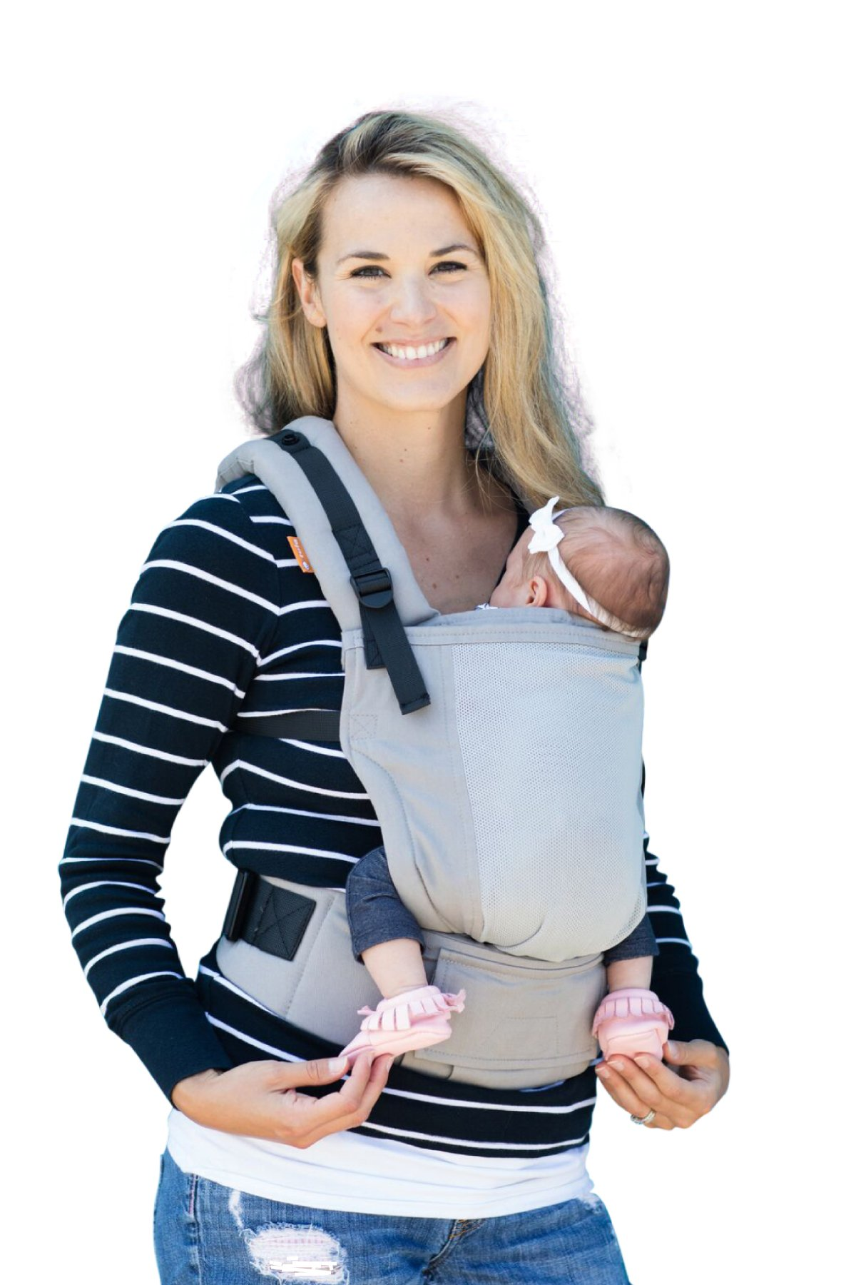 Baby Tula Free-to-Grow Coast Mesh Baby Carrier 7 – 45 lb, Adjustable Newborn to Toddler Carrier, Ergonomic Inward Front and Back Carry, Lightweight – Coast Overcast, Light Gray with Light Gray Mesh