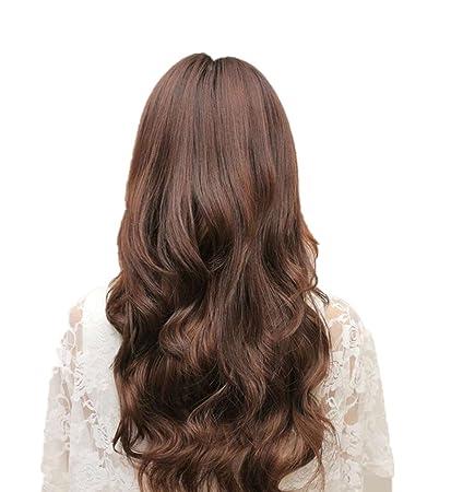 Culater Pelucas Sintéticas cabello mujer llena larga ondulado de pelo sintético Marrón 45*25cm/