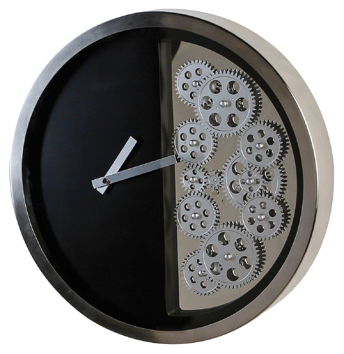Casablanca 150176 Uhr Wanduhr - Zahnräder Edelstahl - schwarz Silber - Ø 39 cm