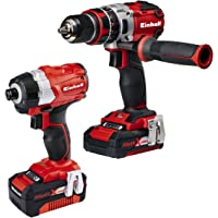 Einhell 4257216 BL 4.0 A Power X-Change 18 V Combi Drill and Impact Driver Brushless Kit, Twin Pack - Red
