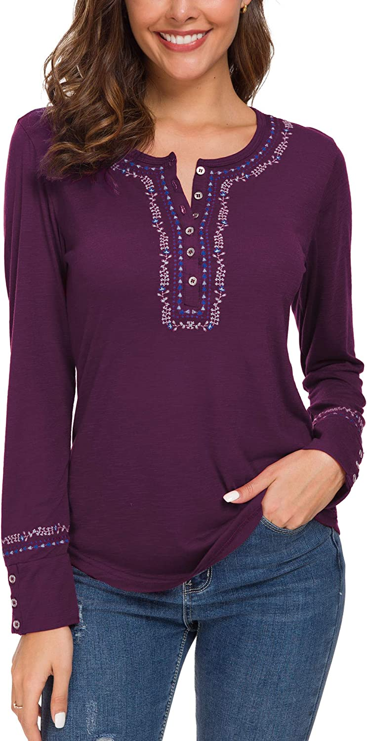 Urban CoCo Women's Long Sleeve Boho Shirt Embroidered Top