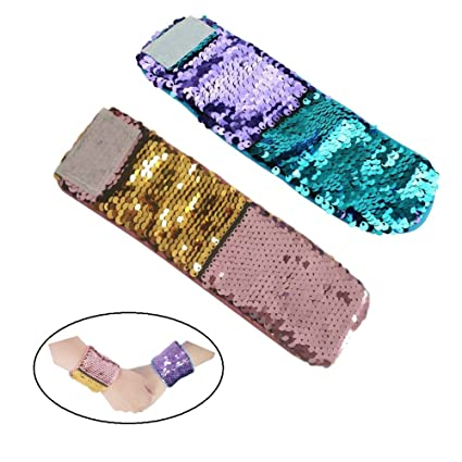 2b5b0f605bd3 Amazon.com  2 Pcs Reversible Sequin Mermaid Bracelet