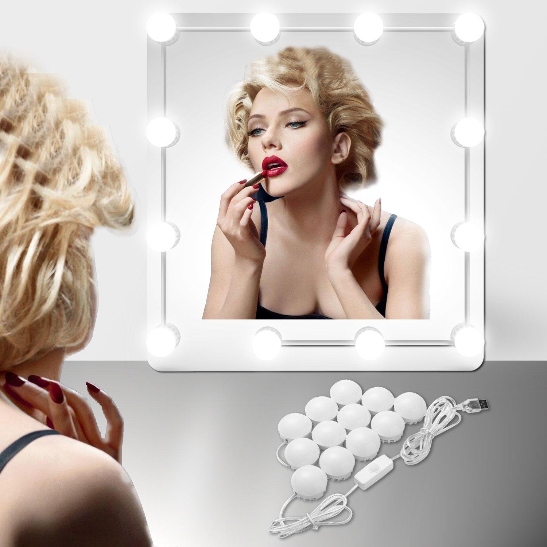 EEIEER Vanity Lights Kit, with USB Plug Hollywood Style 12 LED for Makeup Vanity Mirror Table Set in Dressing Room