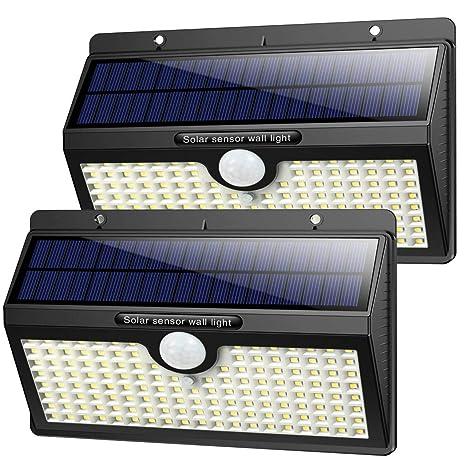 Luz Solar Exterior, [2019 Super Brillante 138 LED - 1400 Lumens] iPosible Gran Ángulo 180 ° de Iluminación Foco Solar con Sensor de Movimiento ...