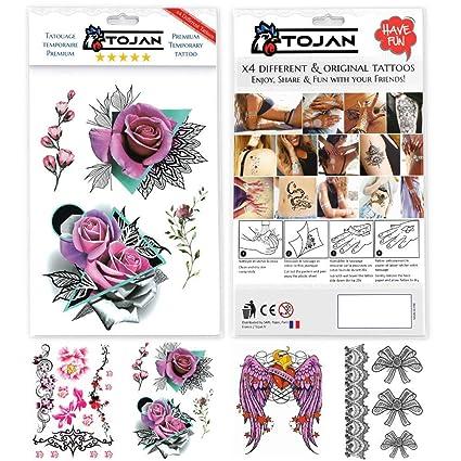 Tatouage Ephemere Rose Pour Femme Pack De 4 Tatouages Differents