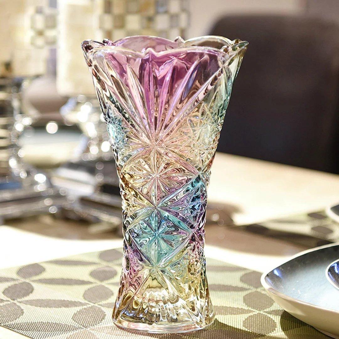 YKFN フラワーベース 花瓶 花器 ガラス 北欧雑貨 ギフト おしゃれ インテリア 新築祝い 結婚祝い お洒落 クリスタル 贈り物 B06W52KXNN   底9x口径14.5x高さ25cm