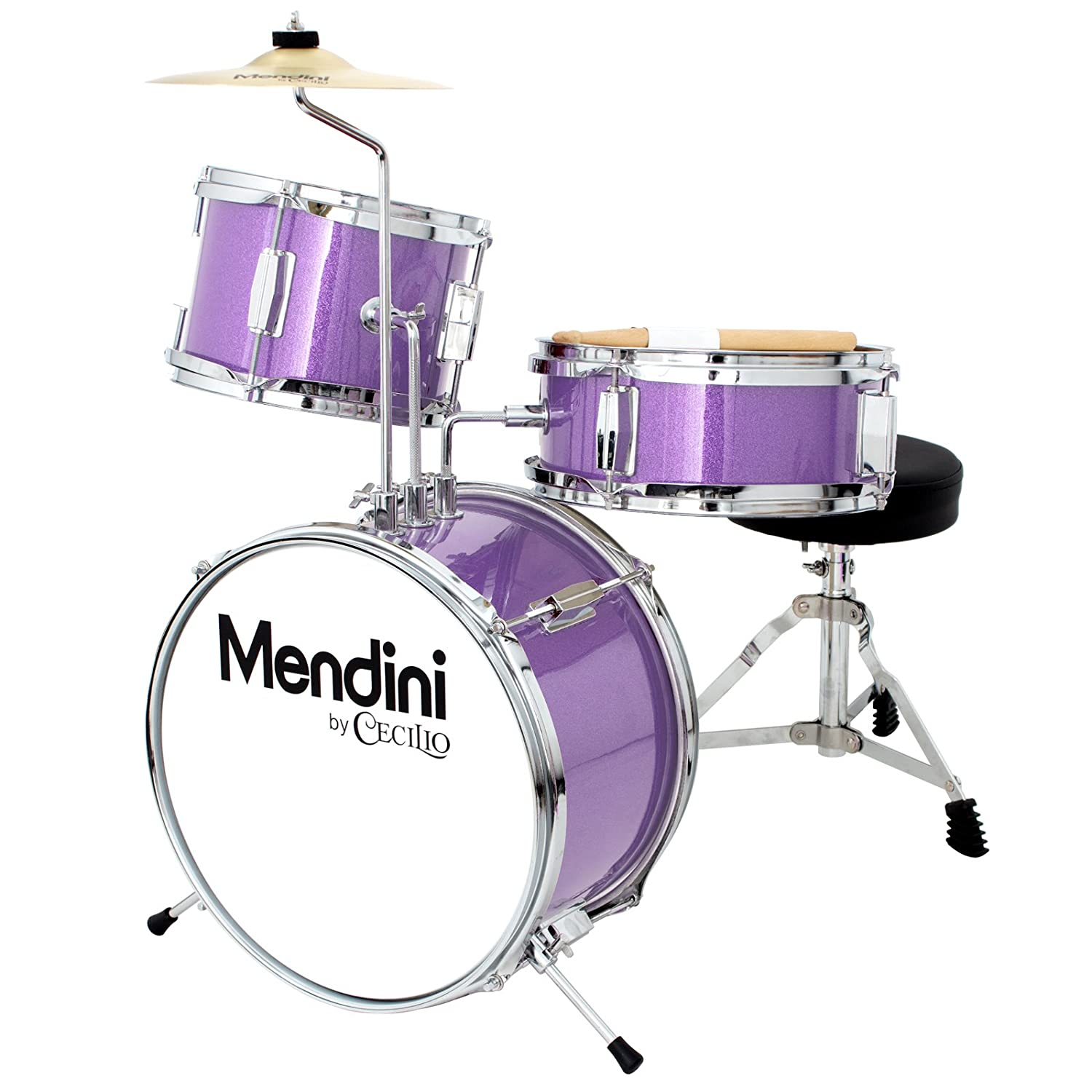 Mendini by Cecilio 13 Inch 3-Piece Kids/Junior Drum Set with Adjustable Throne, Cymbal, Pedal & Drumsticks, Metallic Purple, MJDS-1-PL Cecilio Musical Instruments