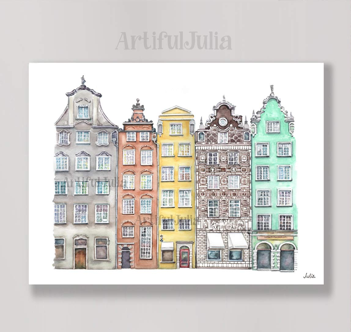 detailpriser fodtøj unikt design Gdansk Poland art print of watercolor painting, (NO FRAME), 5