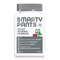 SmartyPants Adult Mineral Daily Gummy Multivitamin: Vitamin C, D3 & Zinc for Immunity, Vitamin E, Gluten Free, Calcium for Bones, Magnesium Citrate for Muscle Function, 60 Count (30 Day Supply)
