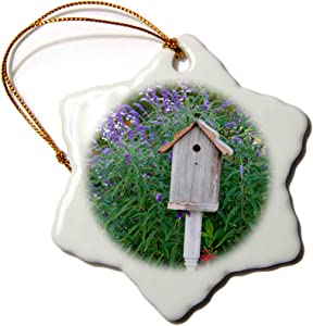 3dRose Birdhouse in Garden with Mexican Bush Sage and Pineapple Sage - Ornaments (ORN_251048_1)