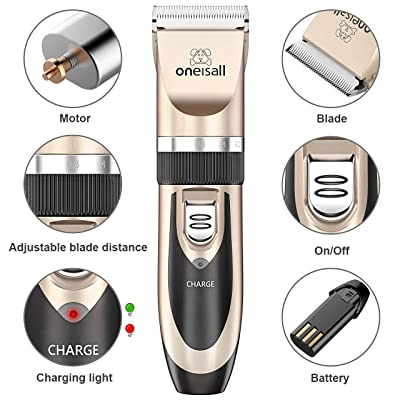Oneisall Low Noise Rechargeable Cordless Hair Clippers Set for Dogs