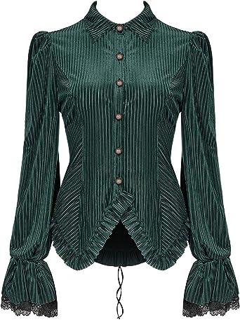 Punk Rave Mujer Gótico Steampunk Top Camisa Blusa Terciopelo Verde Victoriano Corsé: Amazon.es: Ropa y accesorios