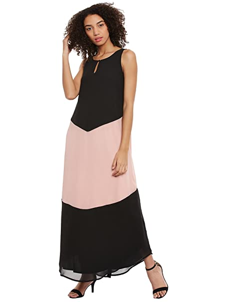 83d2febcde2f FEMELLA Women s Black Colour Block Maxi Dress(FF-22-BLK-M)  Amazon ...