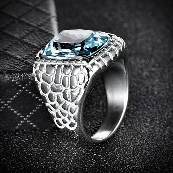 Syink Hypoallergenic Stainless Steel Ring Wedding Bands for Him Large Aquamarine Color Stone Rings with Snake Pattern Engagement Promise Jewelry