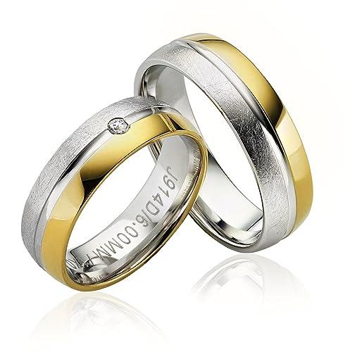 2 x alianzas Partner alianzas de anillos anillos de compromiso Anillos de la amistad en oro