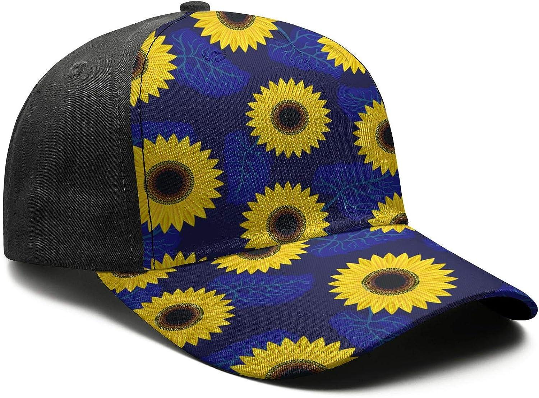 Mens Hip-hop Moisture Wicking Adjustable Vintage Sunflower Pattern Jogging Hats Cap