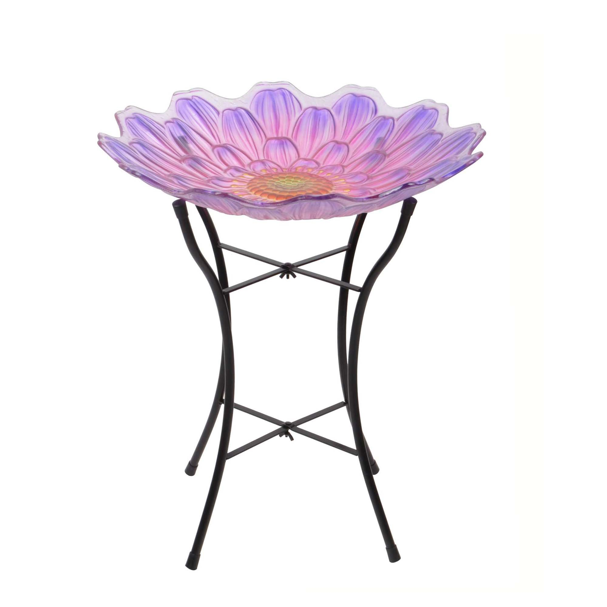 Peaktop Outdoor 18'' Flower Glass Birdbath w/Metal Stand - Pink and Purple