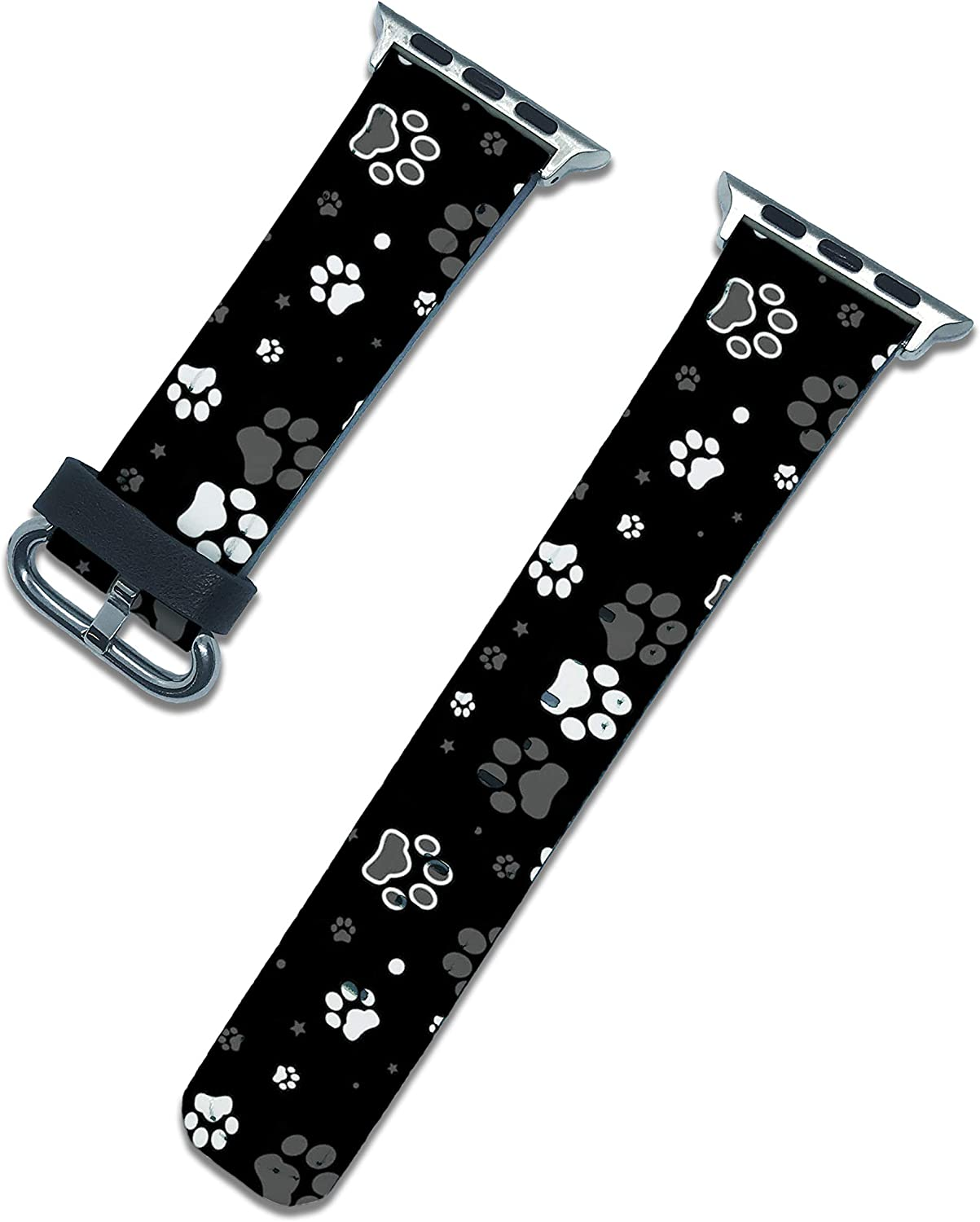 Dog Paws Replacement Band Compatible with Apple Watch Series SE 6 5 4 3 2 1 44mm 40mm 42mm 38mm iWatch Wristband Strap Leather Bands (Black, 40mm | 38mm)