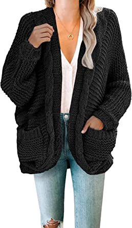 Actloe 2020 Women Open Front Chunky Knit Long Sleeve Cardigan Casual Outwear