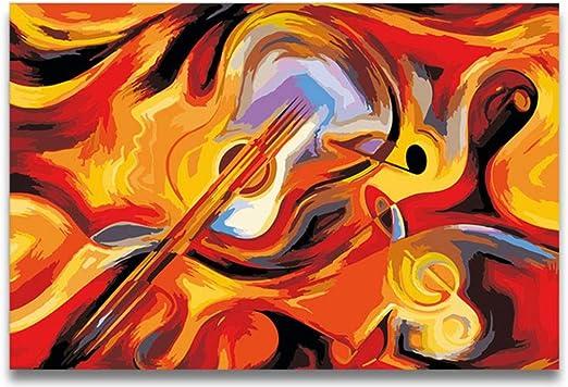 Lishihaozy Pintura Por Números Violín Abstracto Guitarra Pintura ...
