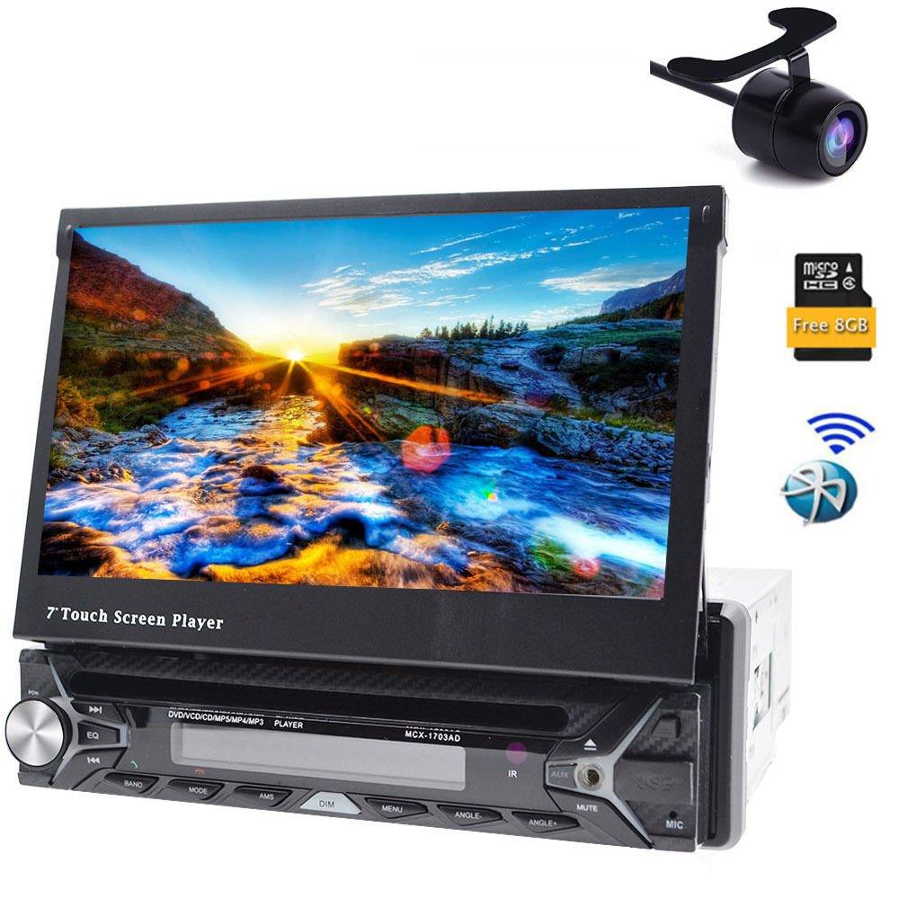 Tmaxlife AUDIO Single-DIN 7 inch Motorized GPS Navigation In Dash Touchscreen DVD Player Receiver, Bluetooth RDS Receiver Head Unit Car Monitor USB/SD FM/AM