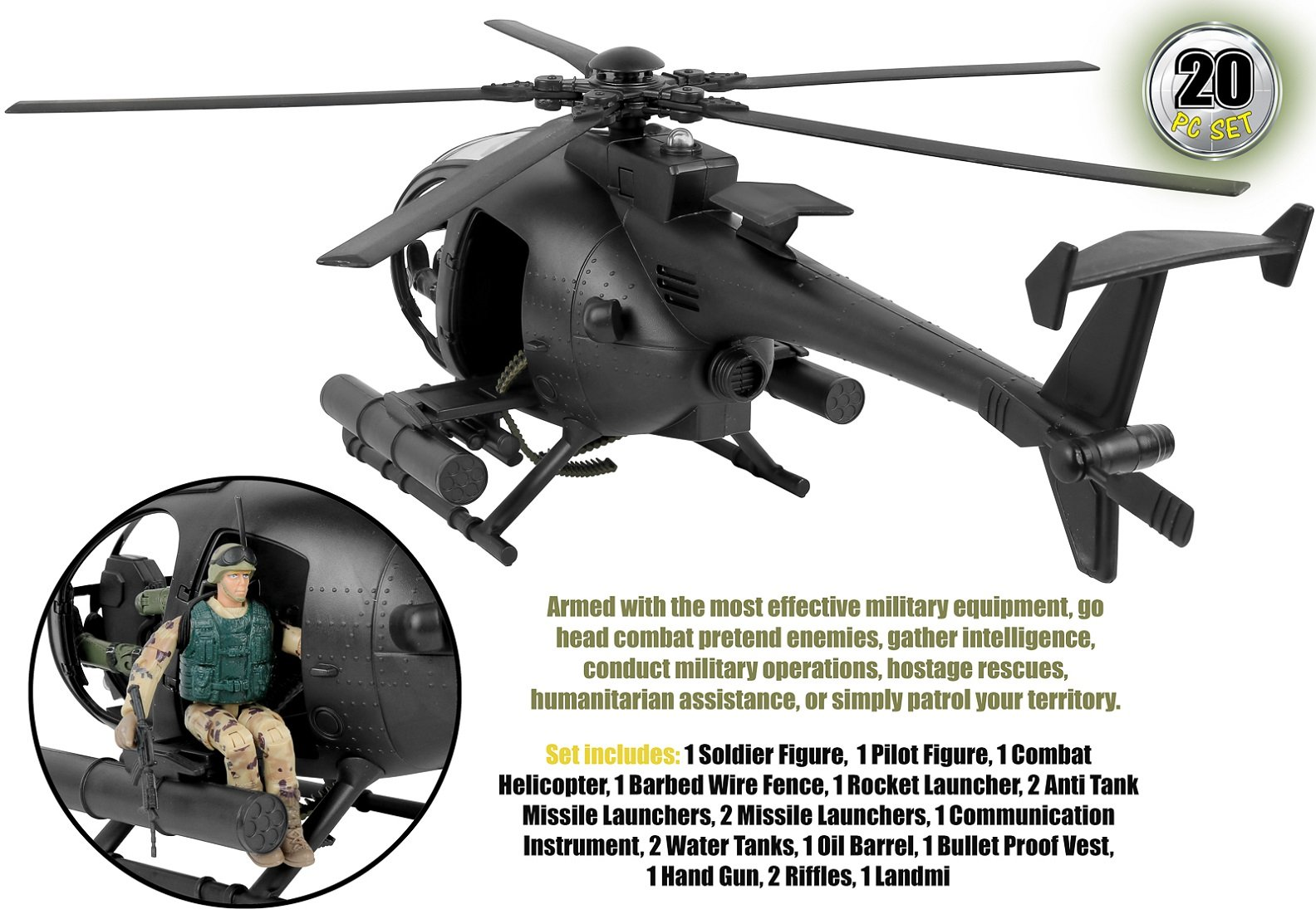 Click N' Play Military Attack Combat Helicopter 20 Piece Play Set With Accessories. by Click N'' Play (Image #3)