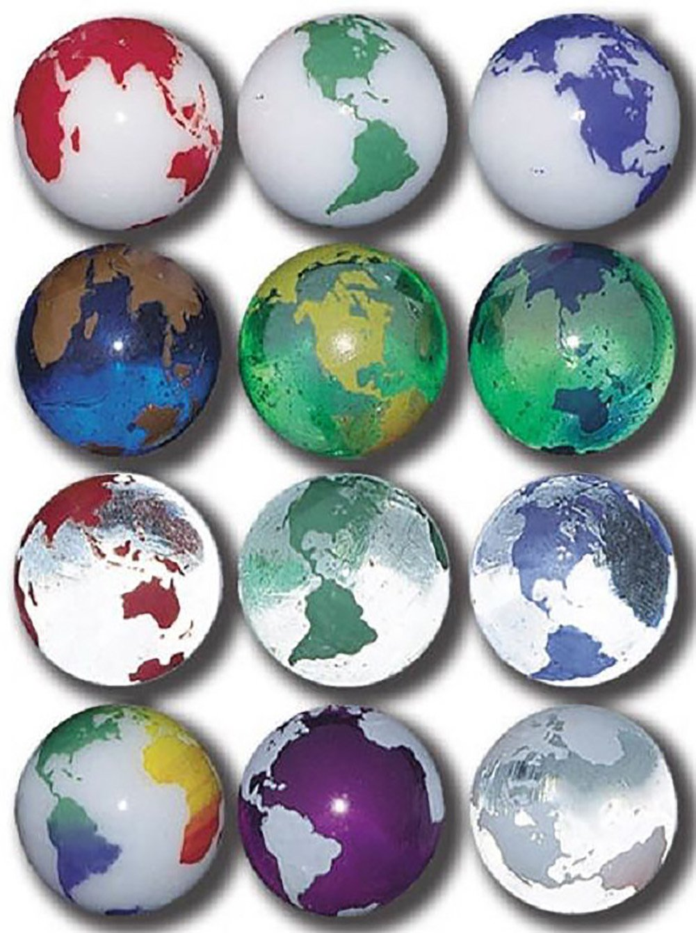 "Unique & Custom {7/8'' Inch} Set Of 3 Big ""Round"" Clear & Opaque Marbles Made of Glass for Filling Vases, Games & Decor w/ Kid's Simple Earth World Globe Design [Blue & White Colors] w/ Stands & Pouch"