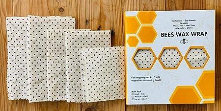 BeesWax Wrap I 5 hojas Un paquete | Orgánico I 2 Grande 2 Mediano 1 Pequeño I Envoltorio ecológico y reutilizable: Amazon.es: Hogar