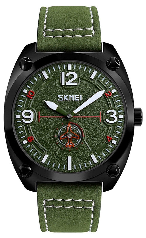 メンズレザーカジュアルクオーツ時計ストップウォッチMilitary Army防水Sport Wrist Watches 44mm グリーン B075C5V9Y1 グリーン グリーン
