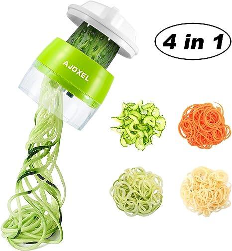 AJOXEL Vegetable Spiralizer Handheld, 4 In 1 Vegetable Slicer Vegetable