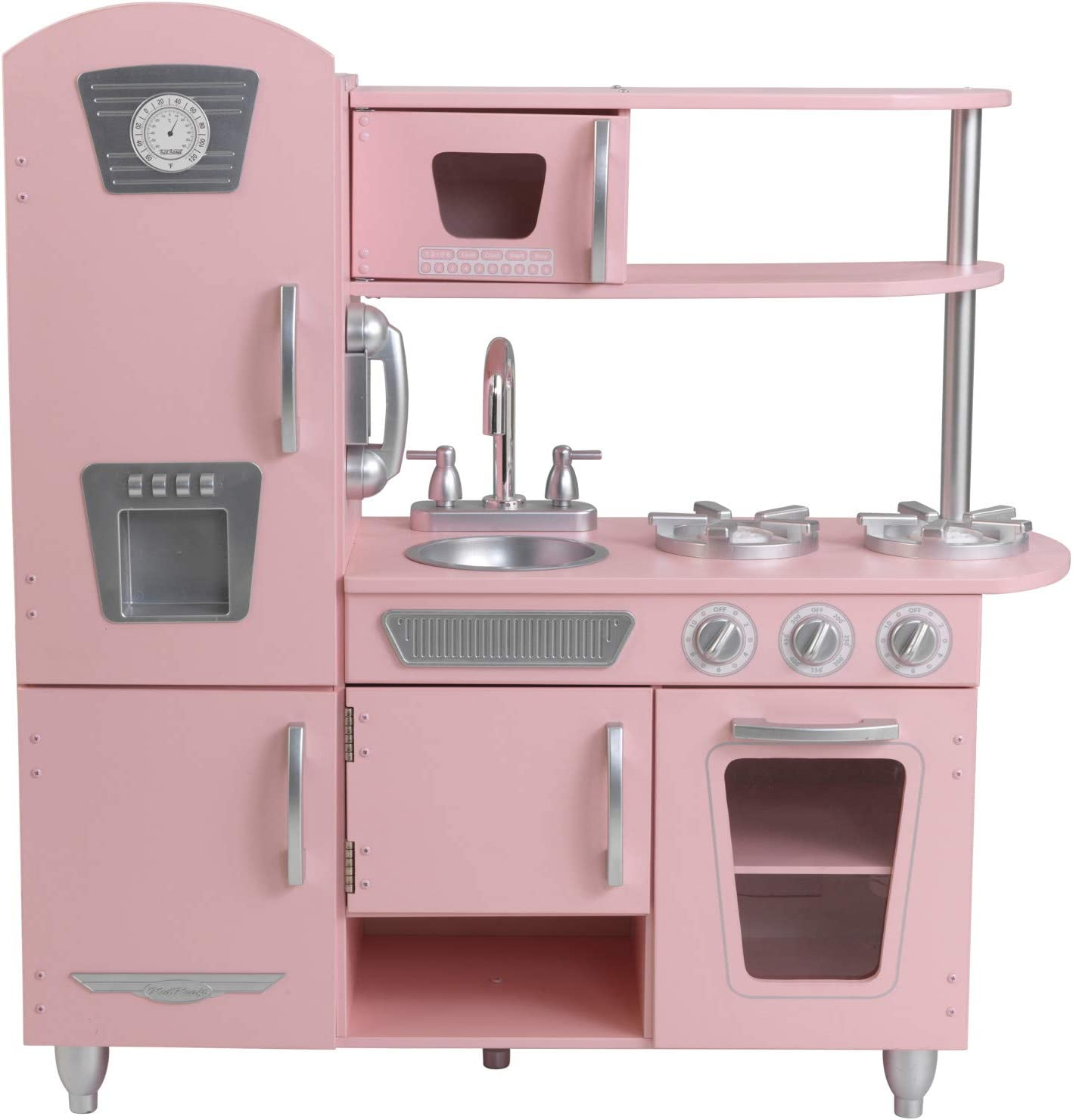 Kidkraft Vintage Wooden Play Kitchen With Pretend Ice Maker And Phone Pink Gift For Ages 3 Toys Games Amazon Com