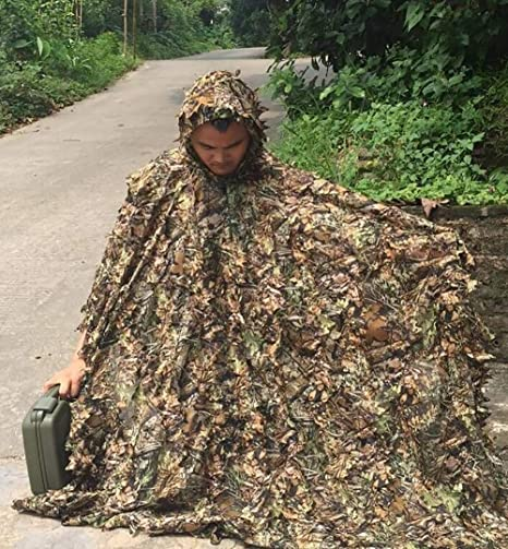 Amazon.com: Ropa de caza, traje de camuflaje 3D, hoja de ...