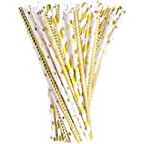 Drinking Straws Paper Straws for Celebrations, Christmas, Birthday, Wedding, Baby Shower and Party, 100 Pieces, Gold