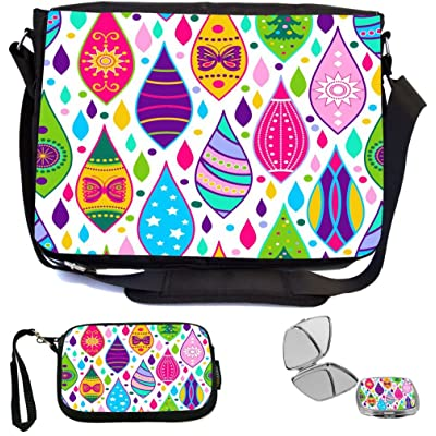 Rikki Knight Seamless Burst of Color Design Design COMBO Multifunction Messenger Laptop Bag - with padded insert for School or Work - includes Wristlet & Mirror