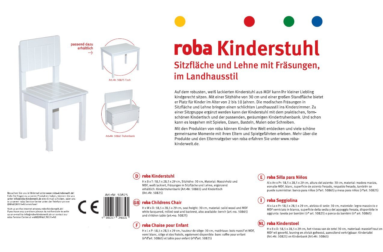 Amazon.com: Roba Baumann GmbH Childs Chair (White): Kitchen ...