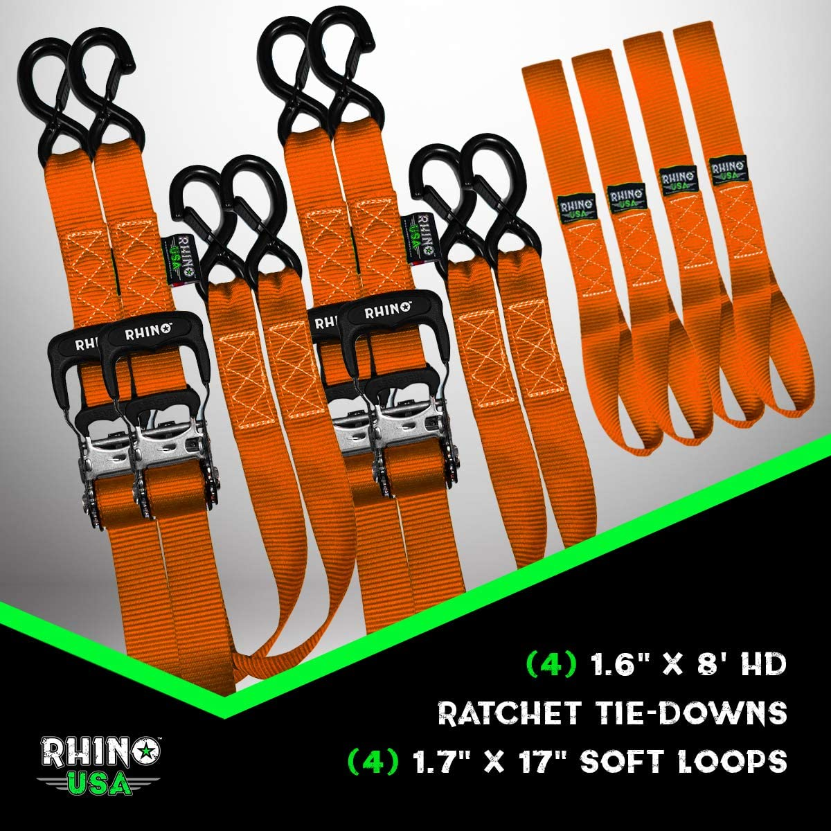 RHINO USA Ratchet Straps Motorcycle Tie Down Kit 2 BLUE Soft Loop Tie-Downs 5,208 Break Strength - 2 Heavy Duty 1.6 x 8 Rachet Tiedowns with Padded Handles /& Coated Chromoly S Hooks +