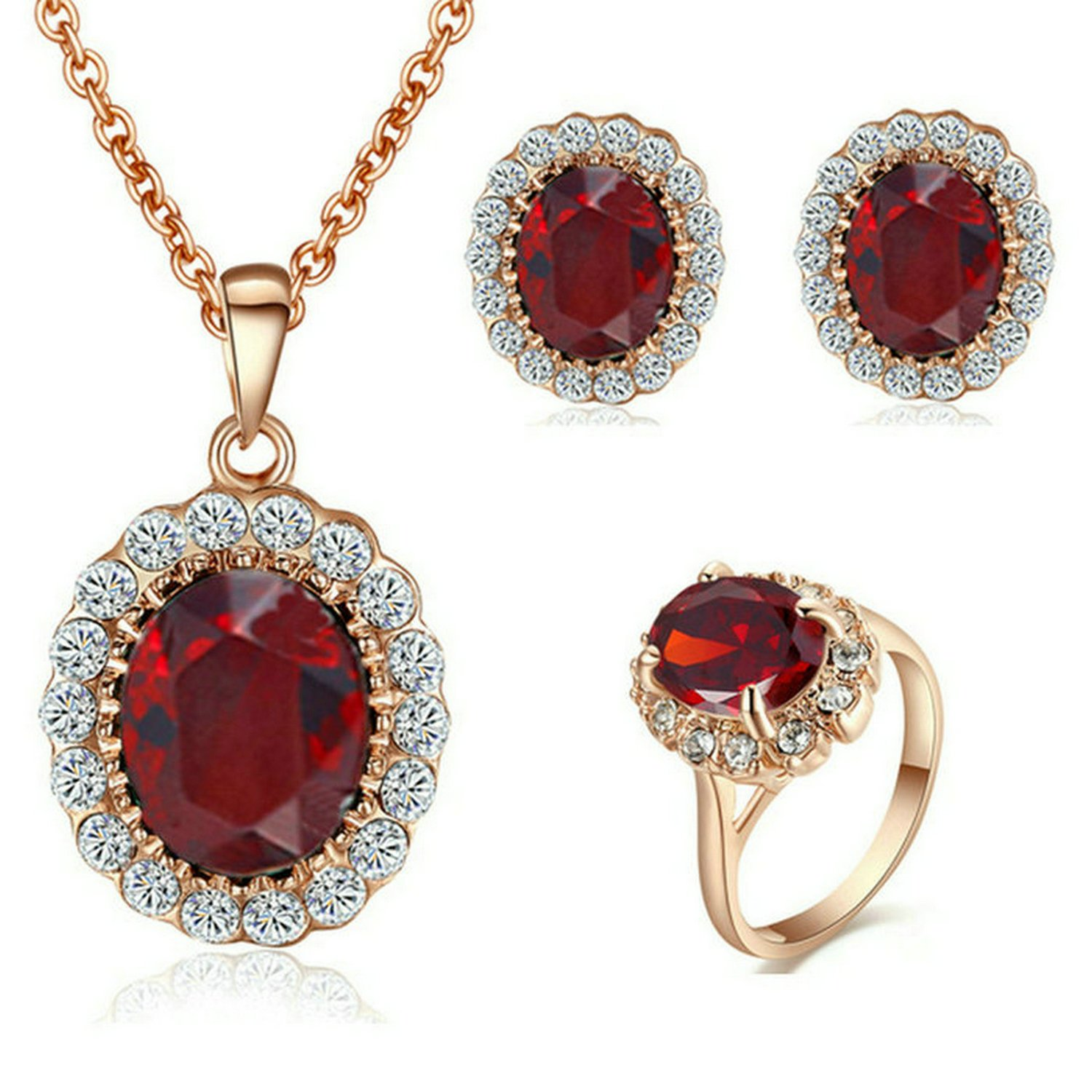 Yoursfs Halo Ruby Diamond Ring and Earrings and Necklace Sets for Women 18ct Rose Gold Plated Wedding Stone Costume Jewellery Set Bride Gift Italina S413R8-9.5