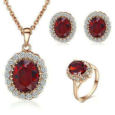 cdd044197fb Yoursfs Red Ruby Jewellery Sets for Women Wedding 18ct Rose Gold Plated  Crystal Pendant Necklace and Earrings and Ring Set: Amazon.co.uk: Jewellery