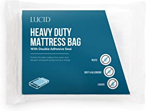"""LUCID Heavy Duty 3 mil Mattress Bag with Double Adhesive Closure-Sealable Cover for Moving and Storage Full XL/Queen 76"""" x 96"""""""