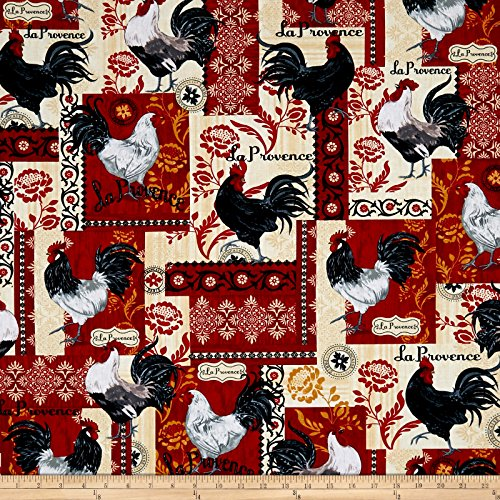 - Timeless Treasures 0548339 Rise and Shine French Rooster Patchwork Red Fabric by The Yard