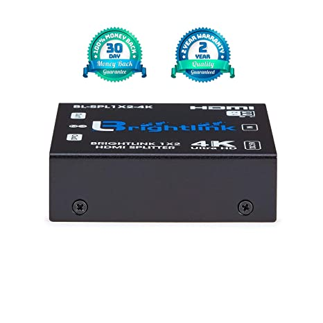 Brightlink 1x2 HDMI Splitter with Full HD 1080p Upto-Ultra HD 4Kx2K @60Hz  (YUV 4:2:0) with HDCP 2 2 and EDID Support for Xbox, PS4, Roku | Blu-Ray