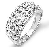 1.15 Carat (ctw) 14K White Gold Round Diamond Ladies Anniversary Wedding Band Ring